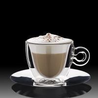 Duplafalú hőálló Thermic Glass cappuccino csésze szett alj 2 db 16,5cl0