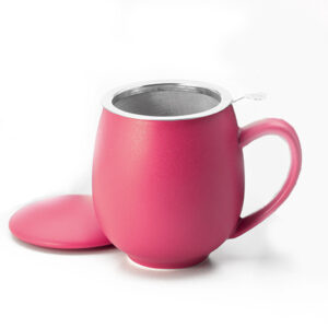 Matt málnapiros teáscsésze teaszűrővel és fedővel