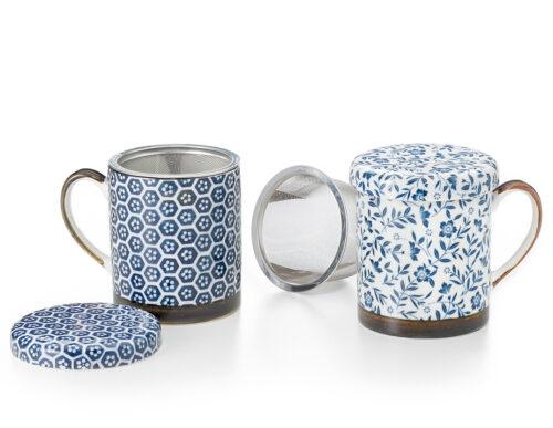 Kékfestő virágos teásbögre szett teaszűrővel, fedővel