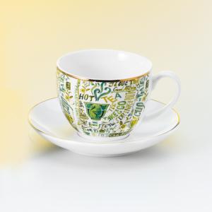 Feliratos teáscsésze és alj, aranyozott szegéllyel, zöld