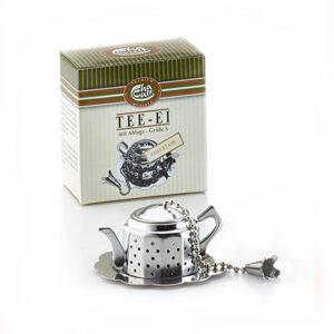 Teáskanna formájú fém teatojás alátéttel