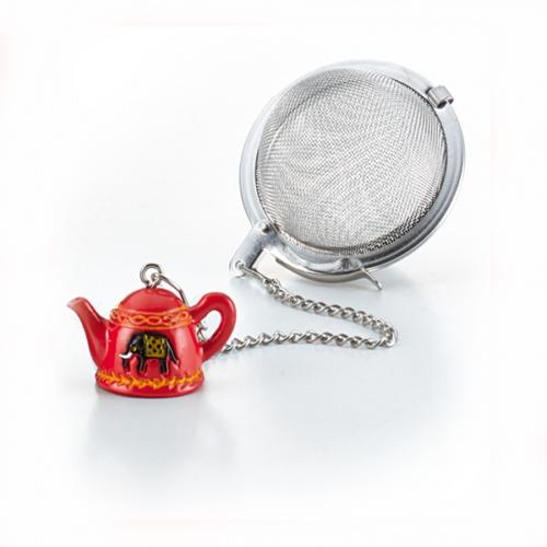 Fém teatojás teáskanna formájú függesztővel, elefánt motívummal