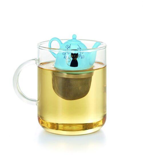 Úszó kancsós teaszűrő kék színben