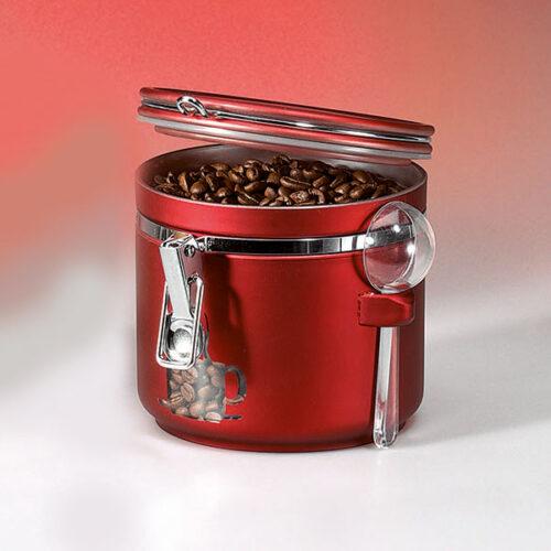 Csatos, kerek, piros kávé tároló doboz adagolókanállal