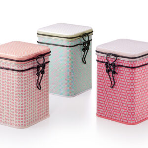 Fém szálas tea tároló doboz szett, csajos pasztell színekben