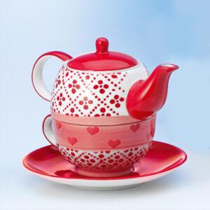 Romantikus egyszemélyes teázó készlet piros mintával