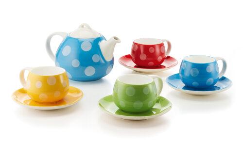 Pöttyös kerámia vidám teás csésze szett teáskannával