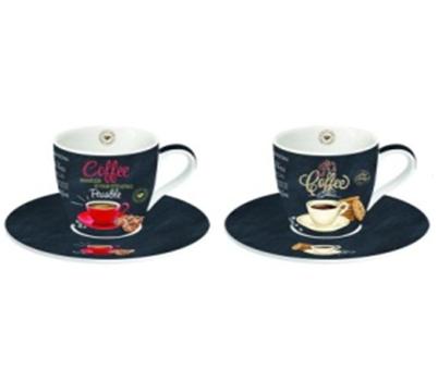 COFFEE TIME Porcelán csésze szett 2 db + alj