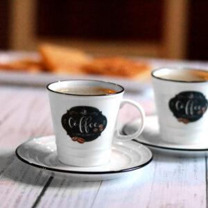 Easy Life fehér porcelán kerámia kávéscsésze készlet - retro