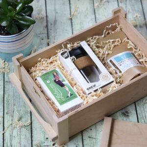 Fadobozos gasztro ajándék csomag - kávé, tea ajándékba