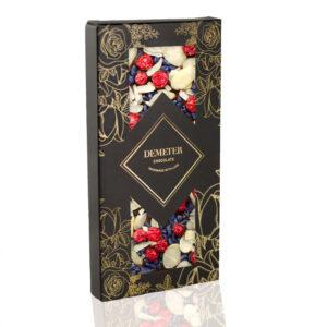 Kézműves csokoládé prémium kézműves étcsoki ibolyával mandulával pirosribizlivel Demeter csoki