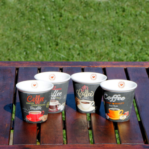 COFFEE TIME Porcelán csésze szett 4 db espresso csésze retro kávés csésze