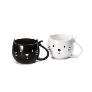 Cicás bögre, macskás bögre fekete-fehér kerámia
