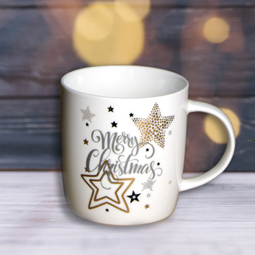 Aranyozott mintás fehér kerámia karácsonyi bögre - csillagos