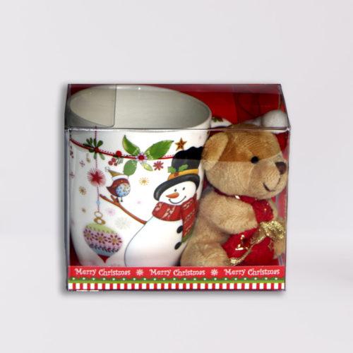 Hóemberes karácsonyi bögre plüss macival