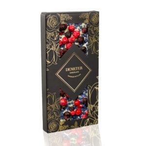 Kézműves csokoládé prémium kézműves fehércsoki ibolyával és liofilizált ribizlivel Demeter csoki