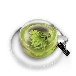 Üveg teáscsésze fedővel és aljjal