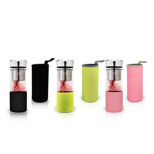 Üveg termosz kulacs tea szűrővel - hordozható teakészítő