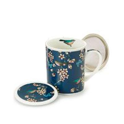 Teás böge kávés bögre csésze teaszűrővel és fedővel. Ajándék
