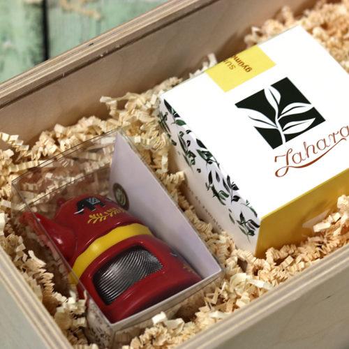 Fadobozos gasztroajándék csomag - tea, méz és teatojás