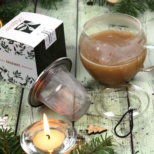 Karácsonyi gasztroajándék - karácsonyi tea válogatás és üveg teáscsésze szűrővel, fedővel és aljjal