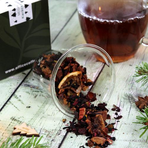 Karácsonyi gasztroajándék - karácsonyi tea válogatás és üveg teáscsésze üveg szűrővel és fedővel