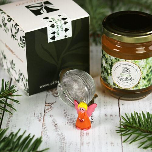 Karácsonyi tea válogatás, bodza méz és teatojás gasztroajándék csomag