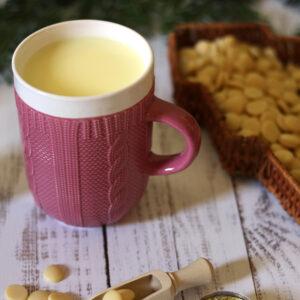 Kötött pulcsis bögre - pasztell rózsaszín teás, kávés bögre - karácsonyi bögre