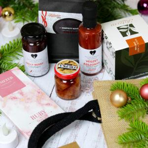 Chilis ajándékcsomag juta táskában - karácsonyi gasztroajándék