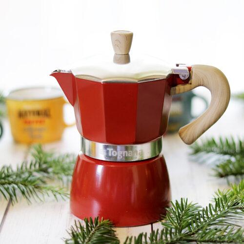 Retro bordó piros kotyogós kávéfőző