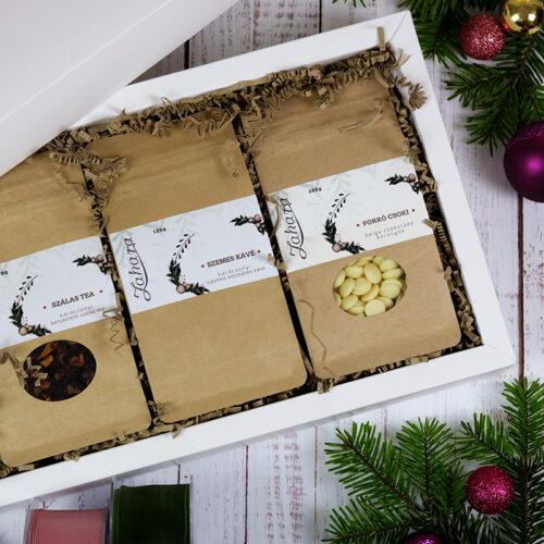 Karácsonyi ajándékcsomag - Zahara kávé, tea, forró csoki ajándékcsomag
