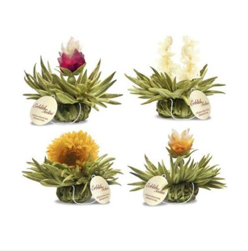 Virágzó tea válogatás fadobozban ízesített fehér tea