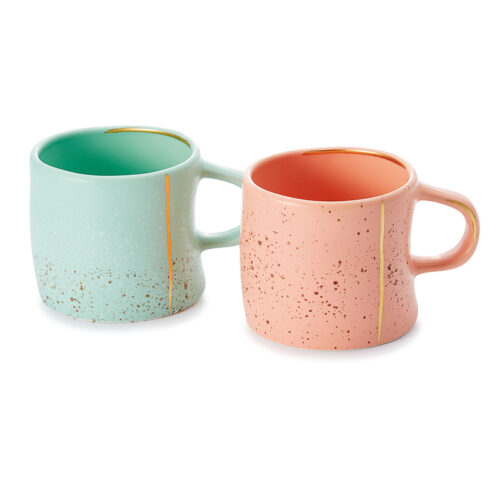 Lijana rusztikus teás, kávés bögre szett - menta és rózsaszín