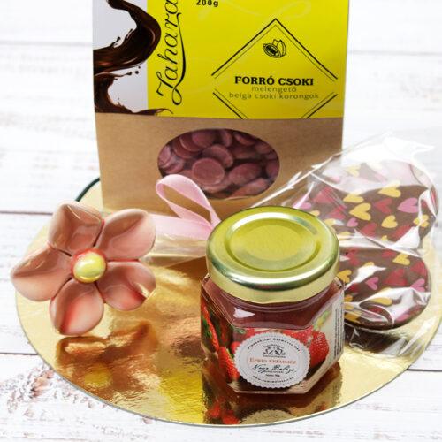 Temptation ruby csokoládé ajándékcsomag nőknek kerámia virággal és mézzel