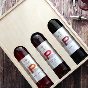 Csopaki Petrányi balatoni bor válogatás fadobozban - siller, rosé, syrah