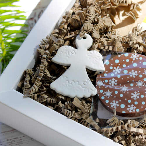 Kerámia angyal karácsonyfadísz